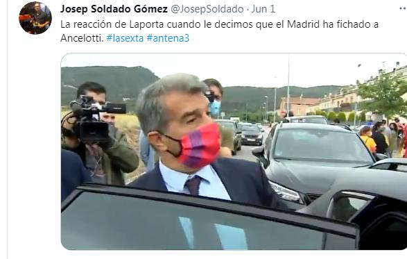 لابورتا رئيس برشلونة يعلق علي عودة انشيلوتي للريال