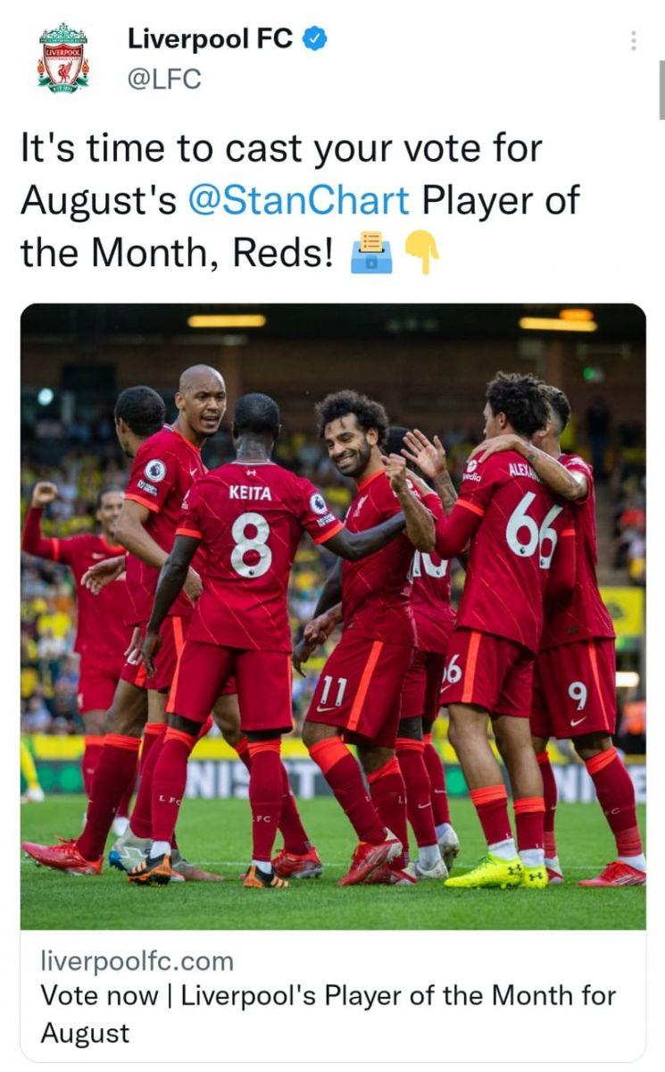 ليفربول يعلن أسماء المرشحين لجائزة لاعب الشهر في الفريق