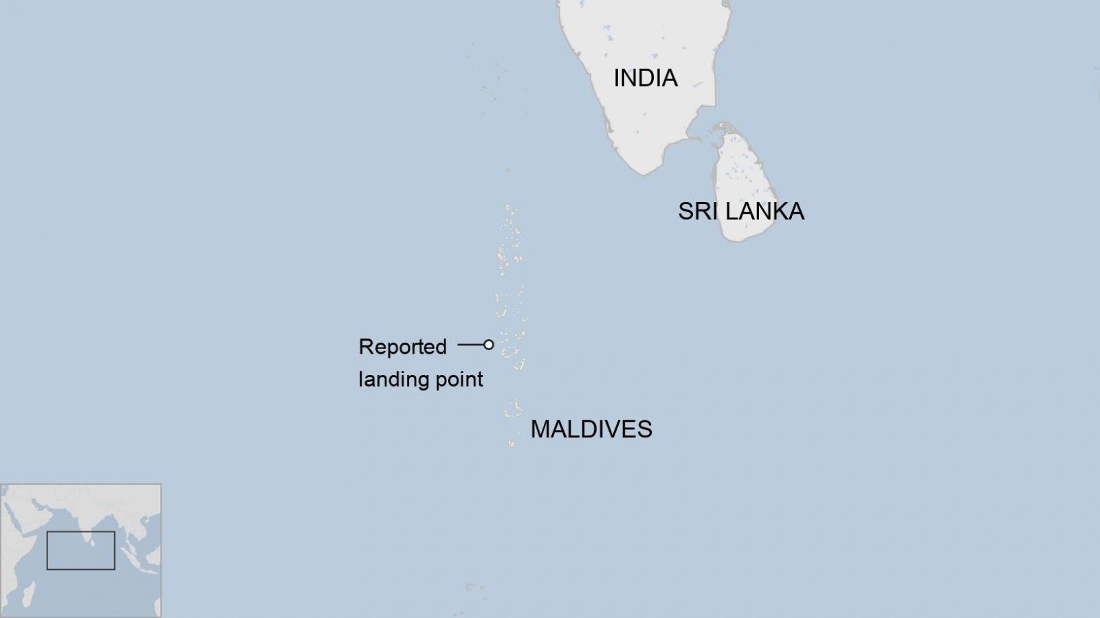 الخريطة توضح الصورة نقطة الهبوط التقريبية للصاروخ