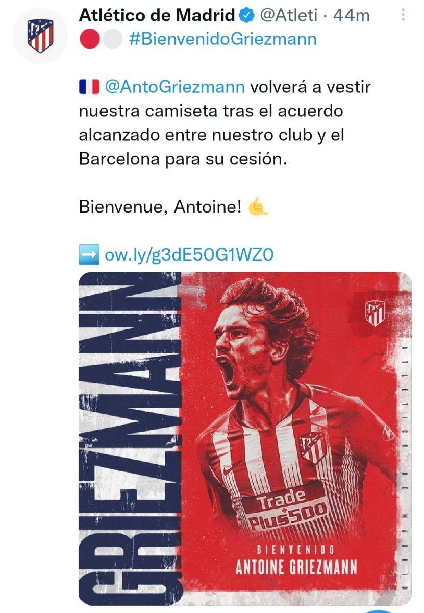 أتليتكو مدريد يعلن عودة جريزمان