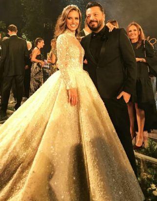 فستان زفاف لارا اسكندر  من توقيع زهير مراد