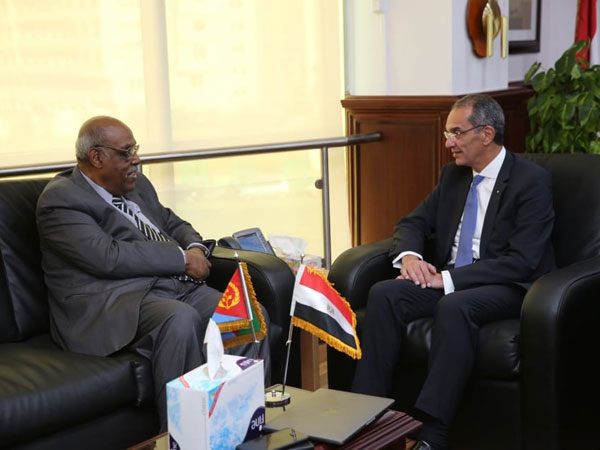Minister of Communications discusses with the Eritrean Ambassador in Cairo means of cooperation between the two countries