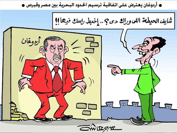 اعتراضات أردوغان في كاريكاتير الوفد